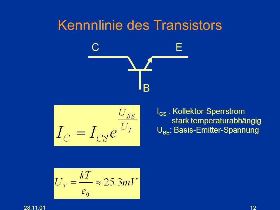 Kennnlinie des Transistors