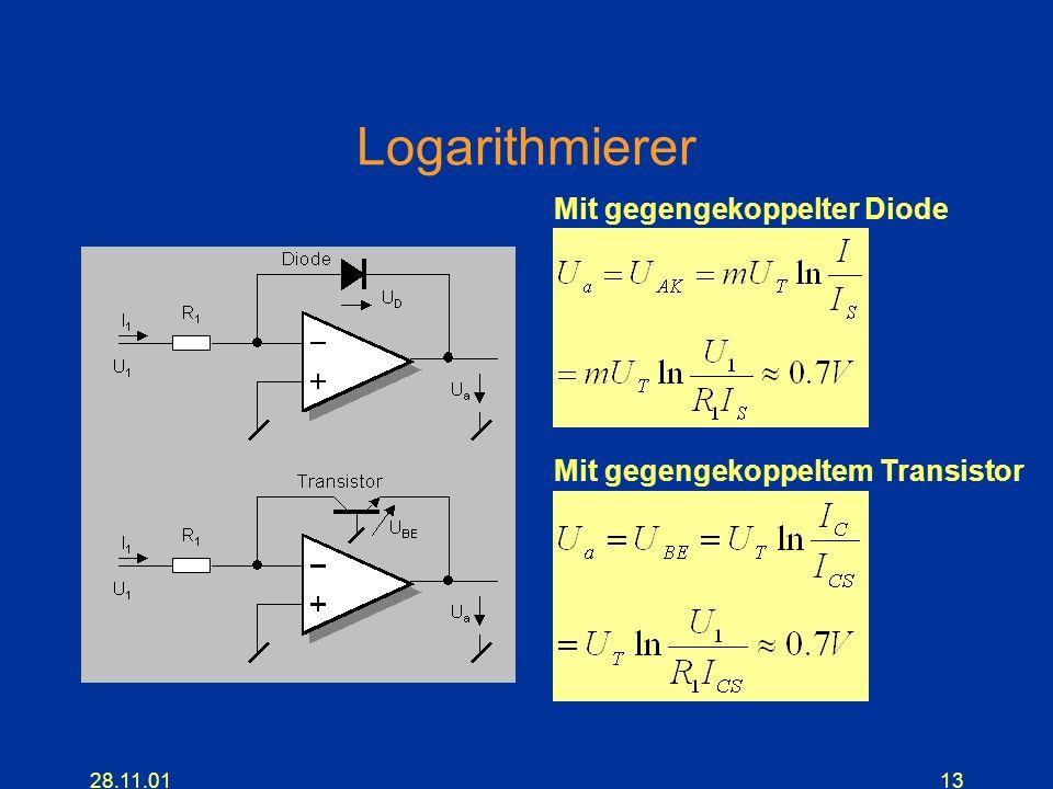 Logarithmierer Mit gegengekoppelter Diode