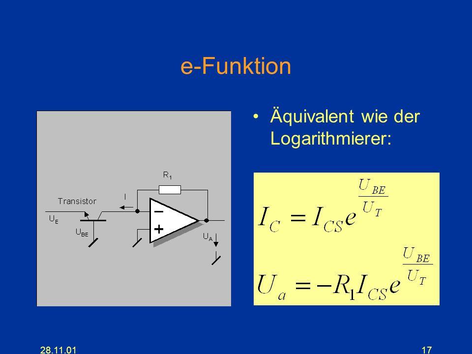 e-Funktion Äquivalent wie der Logarithmierer: 28.11.01