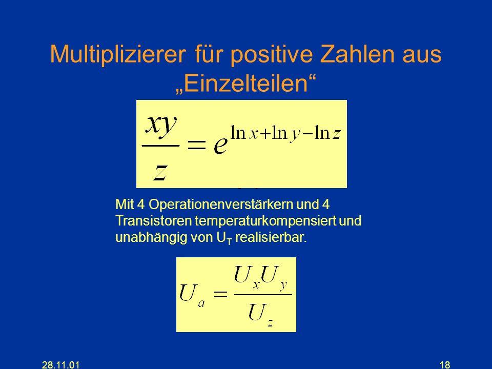 """Multiplizierer für positive Zahlen aus """"Einzelteilen"""