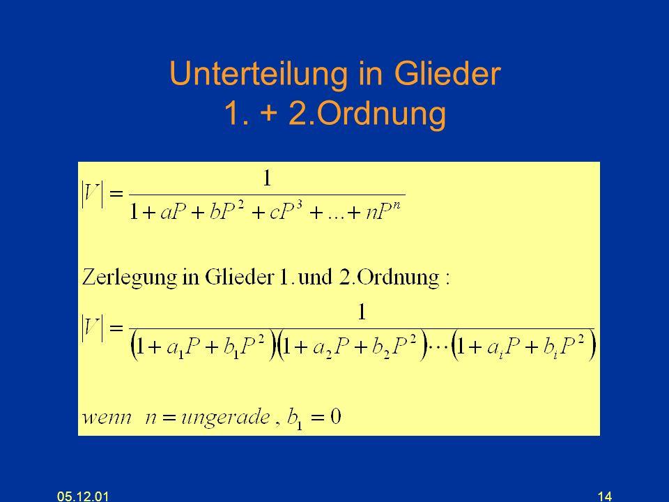 Unterteilung in Glieder 1. + 2.Ordnung