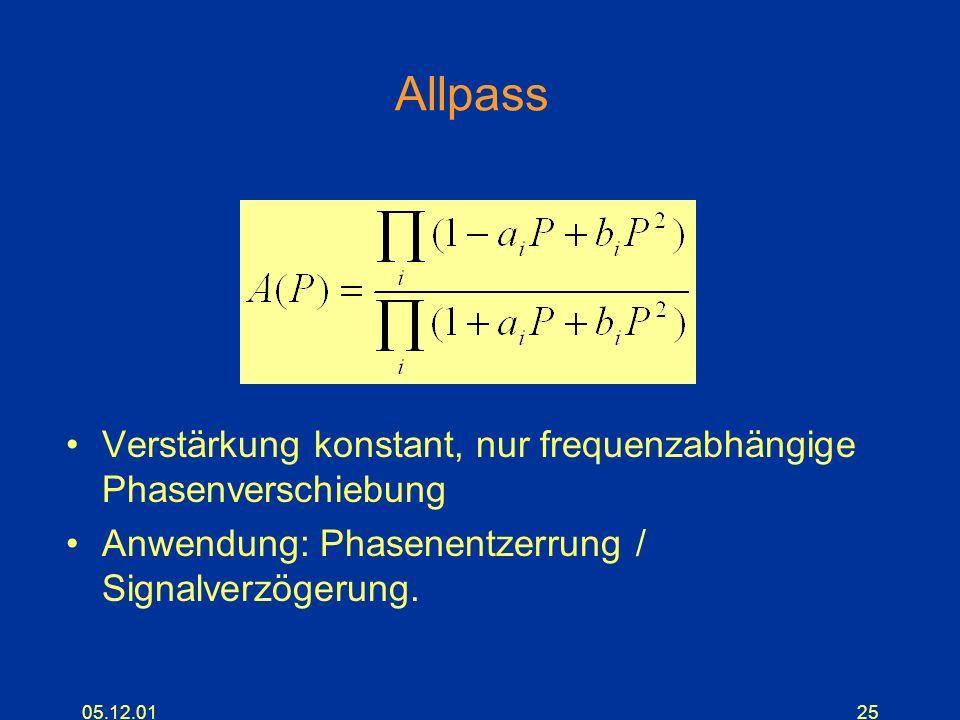 Allpass Verstärkung konstant, nur frequenzabhängige Phasenverschiebung