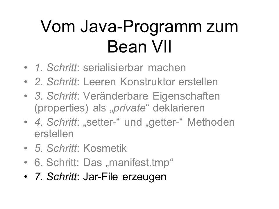Vom Java-Programm zum Bean VII