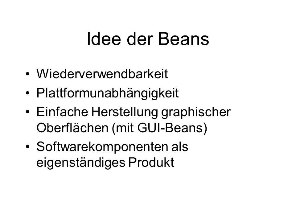 Idee der Beans Wiederverwendbarkeit Plattformunabhängigkeit