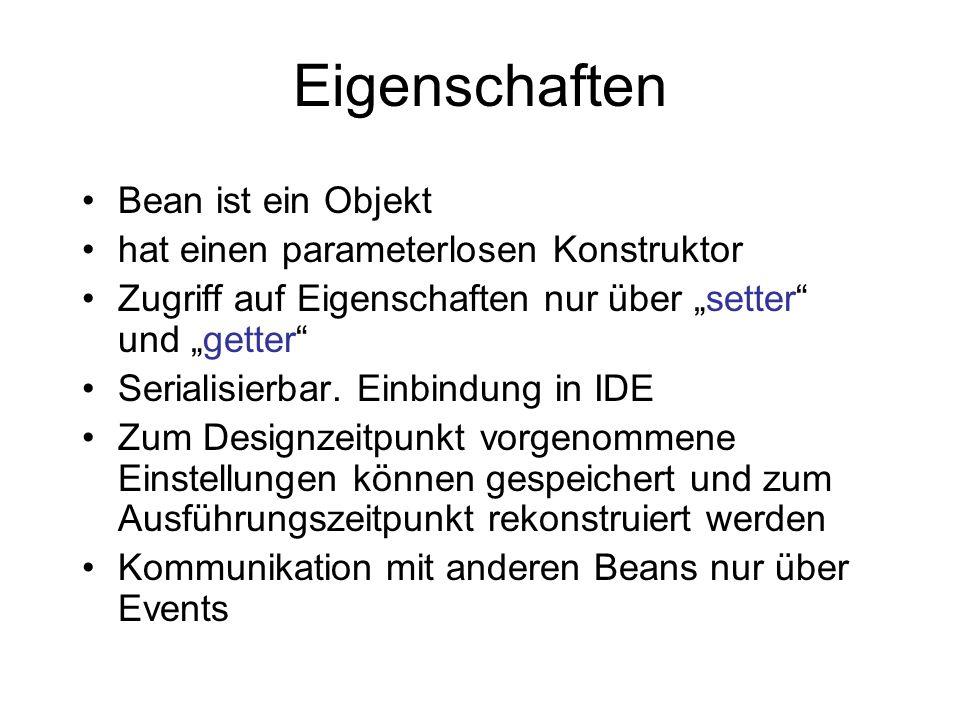 Eigenschaften Bean ist ein Objekt hat einen parameterlosen Konstruktor