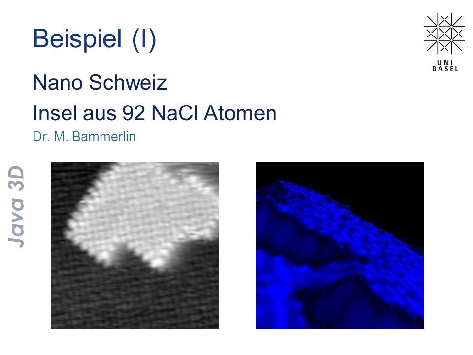 Beispiel (I) Nano Schweiz Insel aus 92 NaCl Atomen Java 3D