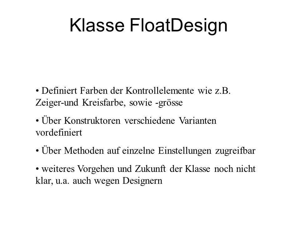 Klasse FloatDesign Definiert Farben der Kontrollelemente wie z.B. Zeiger-und Kreisfarbe, sowie -grösse.