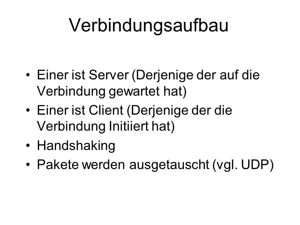 Verbindungsaufbau Einer ist Server (Derjenige der auf die Verbindung gewartet hat) Einer ist Client (Derjenige der die Verbindung Initiiert hat)