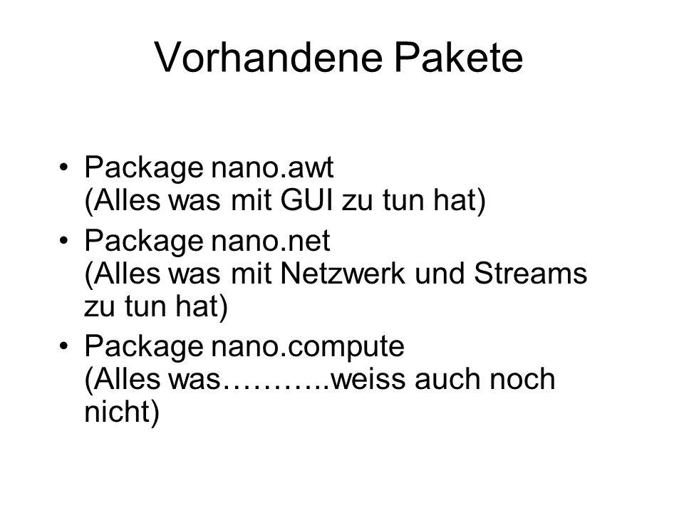 Vorhandene Pakete Package nano.awt (Alles was mit GUI zu tun hat)