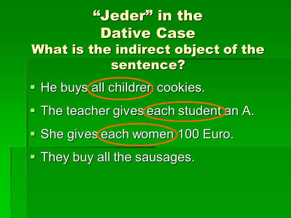 Jeder in the Dative Case What is the indirect object of the sentence
