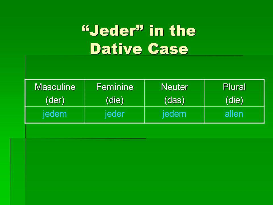 Jeder in the Dative Case
