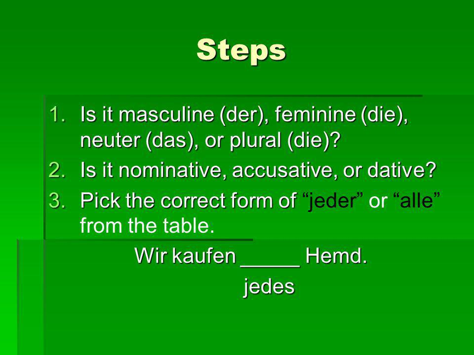 Steps Is it masculine (der), feminine (die), neuter (das), or plural (die) Is it nominative, accusative, or dative