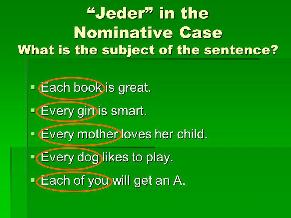 Jeder in the Nominative Case What is the subject of the sentence