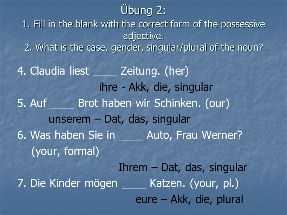 Übung 2: 1. Fill in the blank with the correct form of the possessive adjective. 2. What is the case, gender, singular/plural of the noun