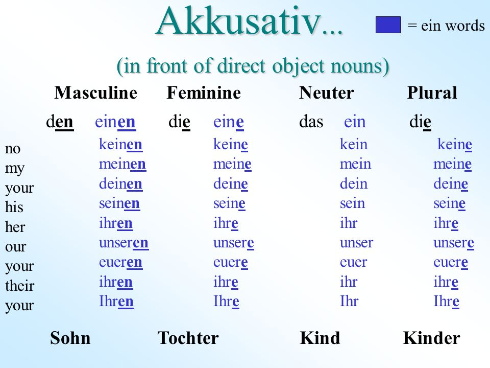 Akkusativ... (in front of direct object nouns)