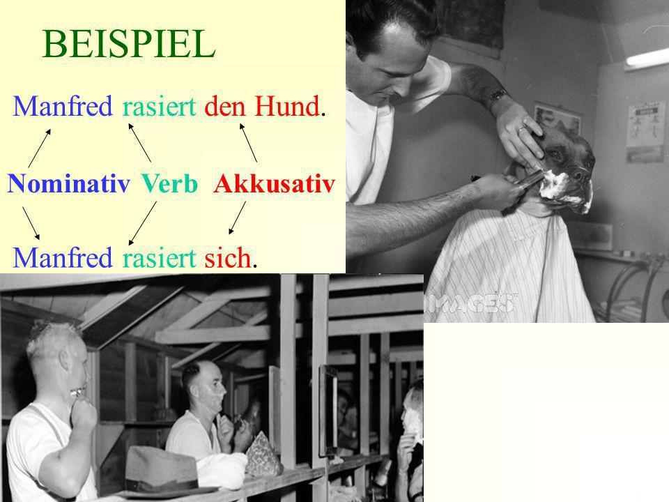BEISPIEL Manfred rasiert den Hund. Manfred rasiert sich.