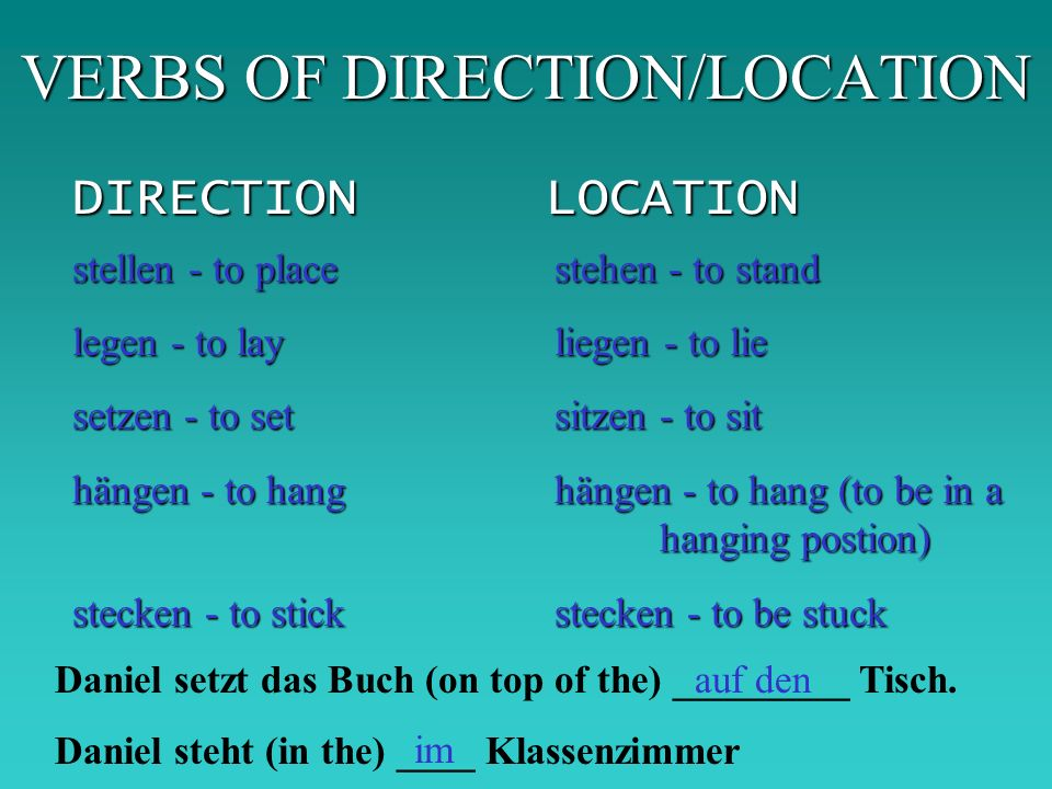 VERBS OF DIRECTION/LOCATION