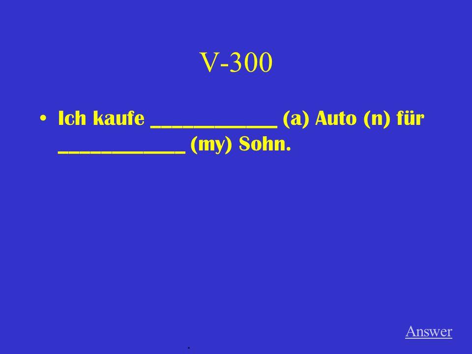 V-300 Ich kaufe ____________ (a) Auto (n) für ____________ (my) Sohn.