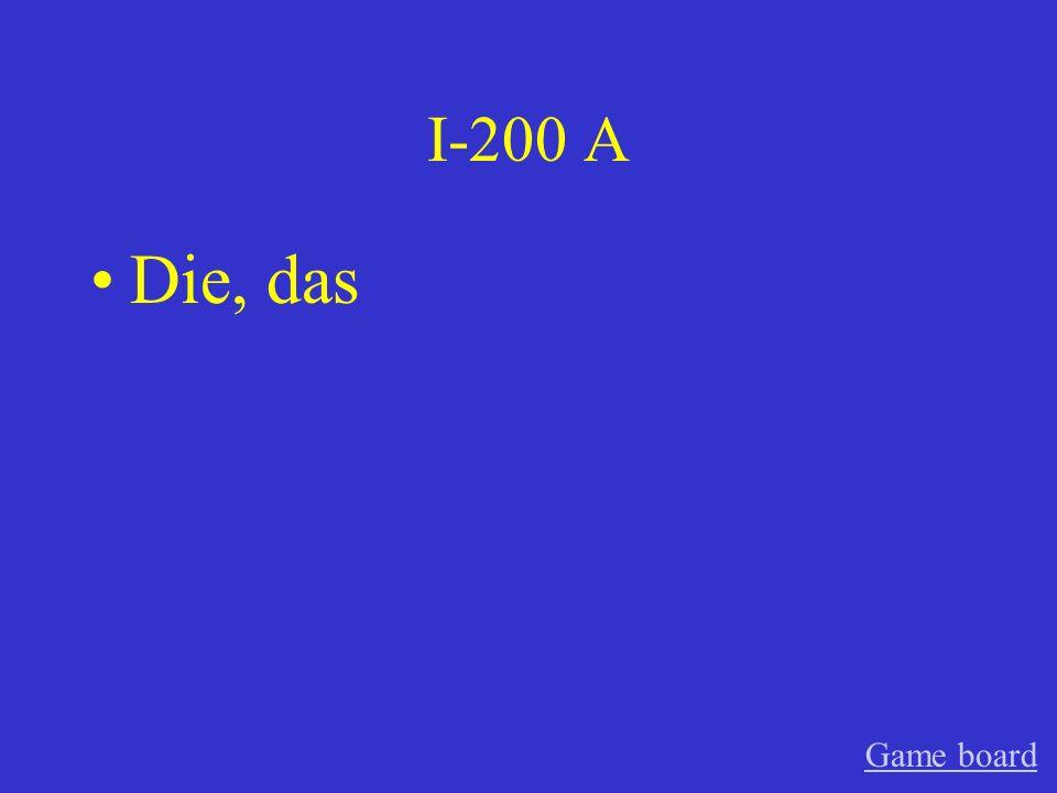 I-200 A Die, das Game board
