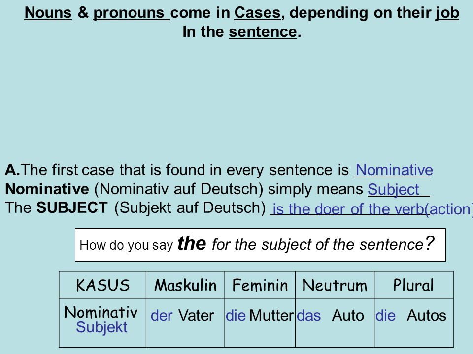 Nouns & pronouns come in Cases, depending on their job