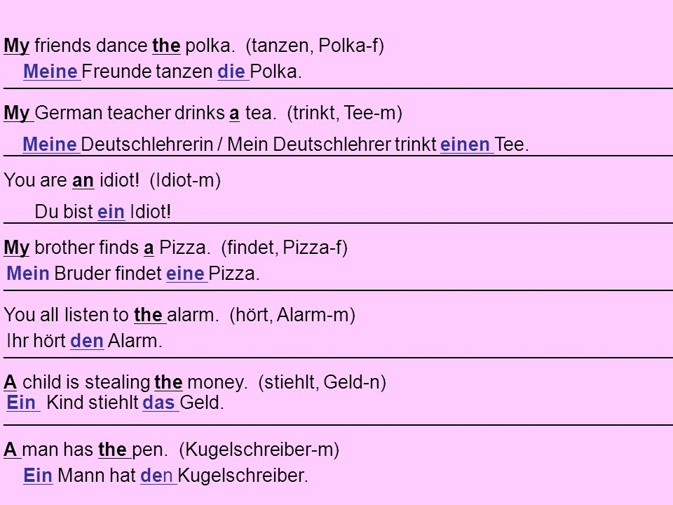My friends dance the polka. (tanzen, Polka-f)