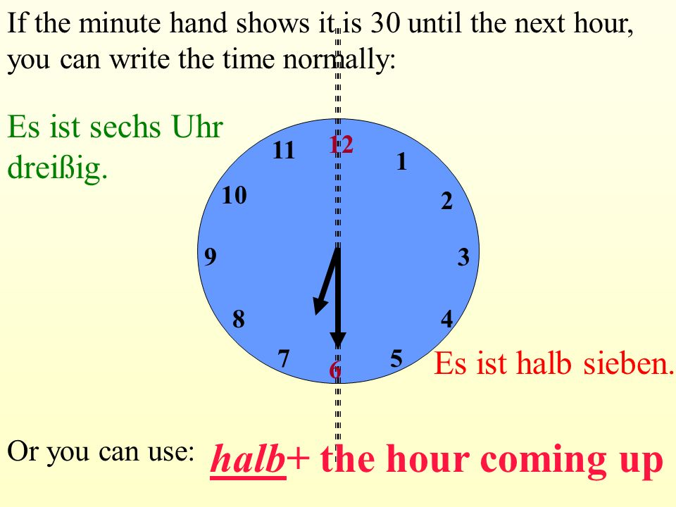 halb+ the hour coming up