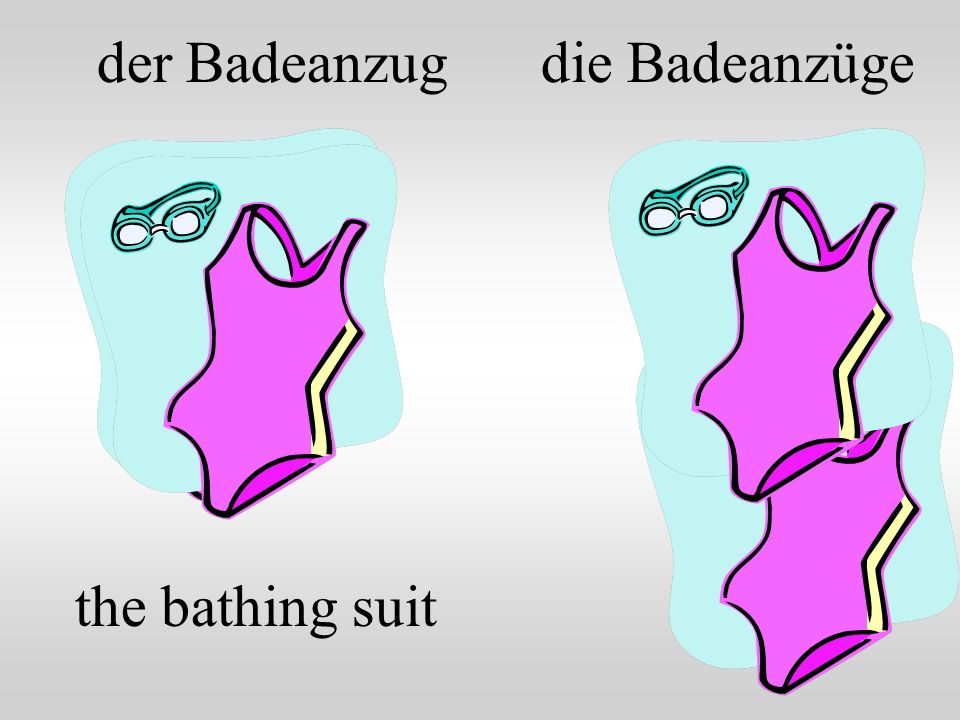 der Badeanzug die Badeanzüge the bathing suit