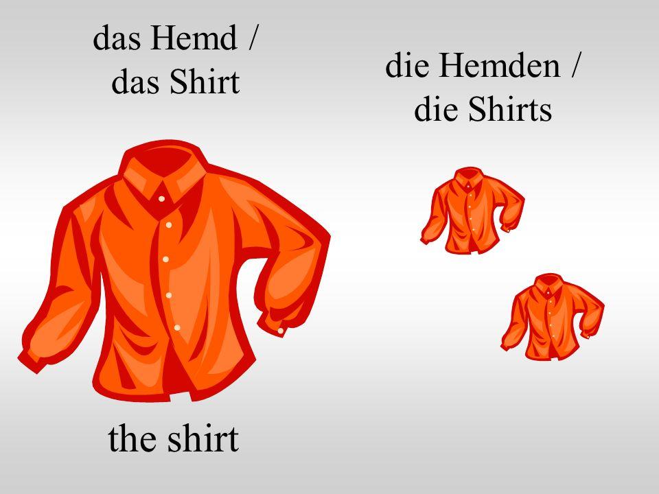 das Hemd / das Shirt die Hemden / die Shirts the shirt