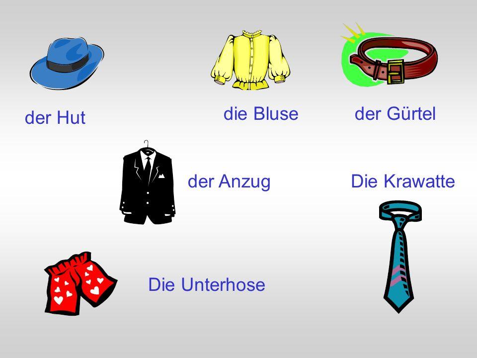 die Bluse der Gürtel der Hut der Anzug Die Krawatte Die Unterhose