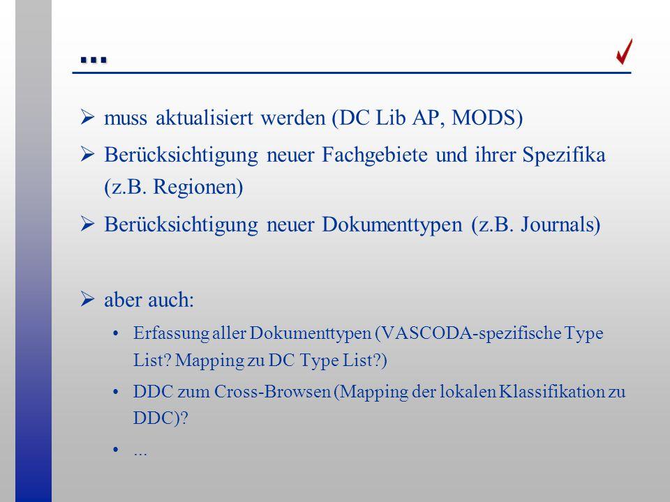 … muss aktualisiert werden (DC Lib AP, MODS)