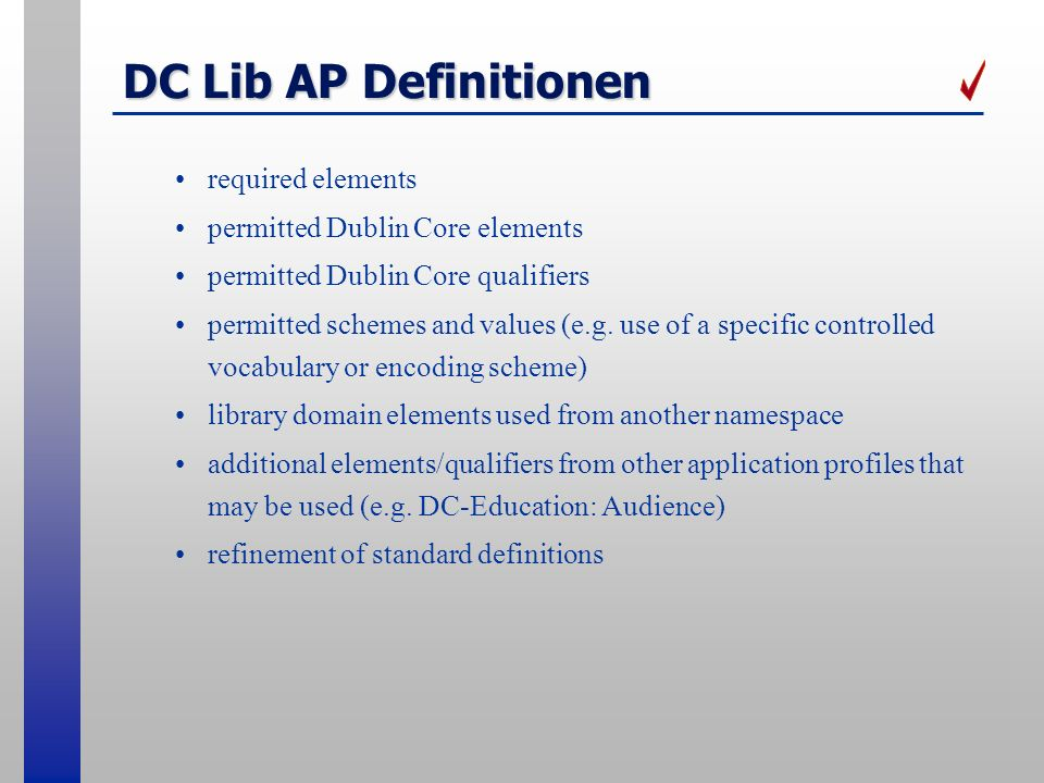 DC Lib AP Definitionen required elements