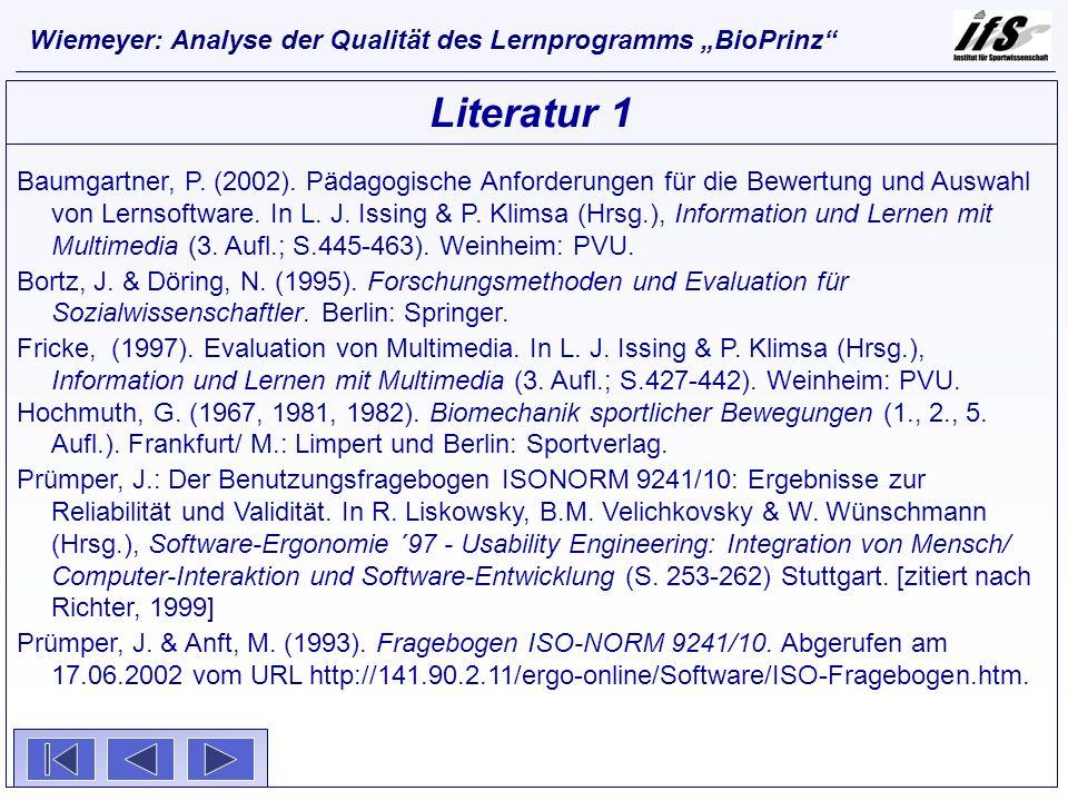 """Wiemeyer: Analyse der Qualität des Lernprogramms """"BioPrinz"""