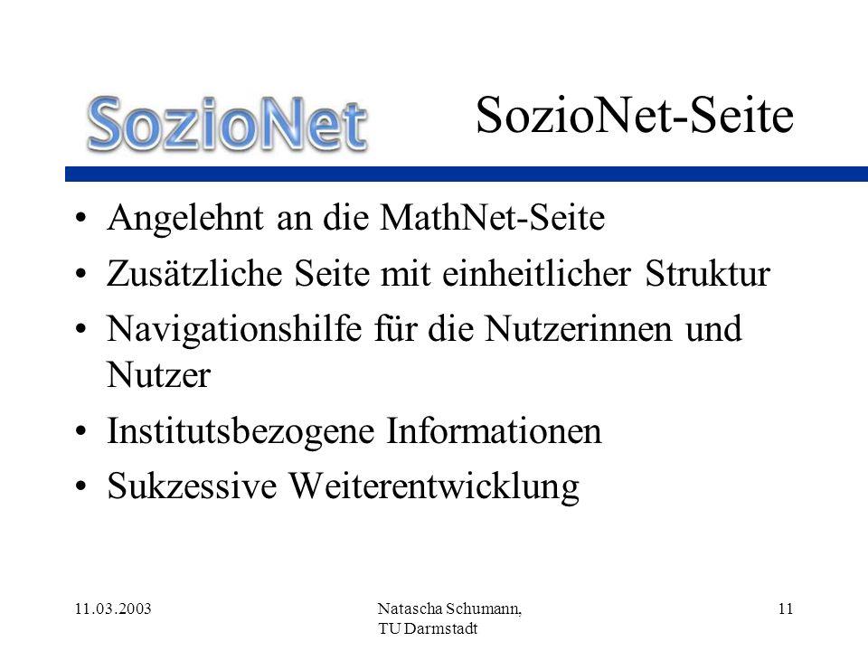 SozioNet-Seite Angelehnt an die MathNet-Seite
