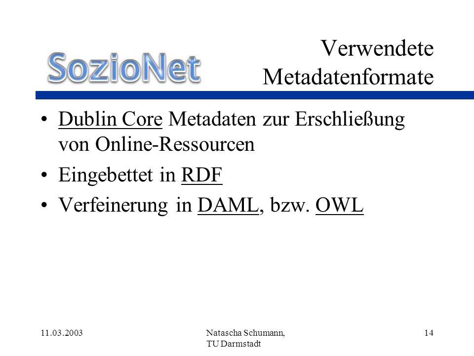 Verwendete Metadatenformate