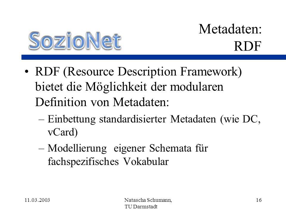 Metadaten: RDFRDF (Resource Description Framework) bietet die Möglichkeit der modularen Definition von Metadaten: