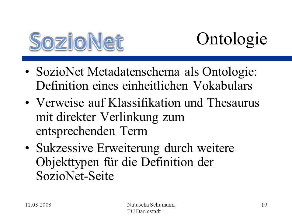 Ontologie SozioNet Metadatenschema als Ontologie: Definition eines einheitlichen Vokabulars.