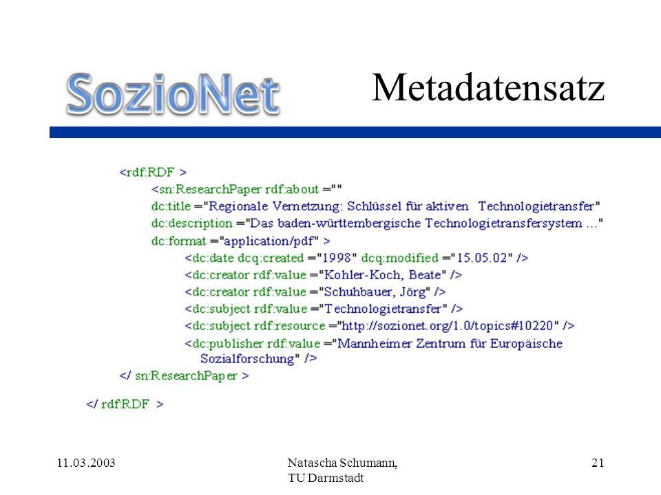 Metadatensatz 11.03.2003 Natascha Schumann, TU Darmstadt