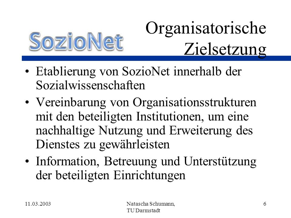 Organisatorische Zielsetzung