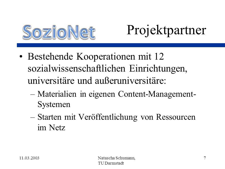 Projektpartner Bestehende Kooperationen mit 12 sozialwissenschaftlichen Einrichtungen, universitäre und außeruniversitäre: