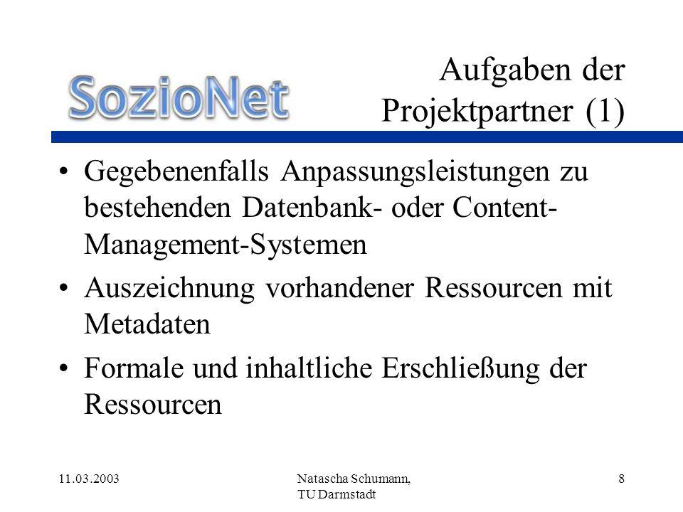 Aufgaben der Projektpartner (1)