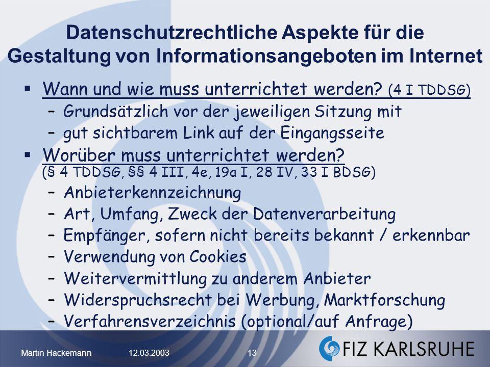 Datenschutzrechtliche Aspekte für die Gestaltung von Informationsangeboten im Internet