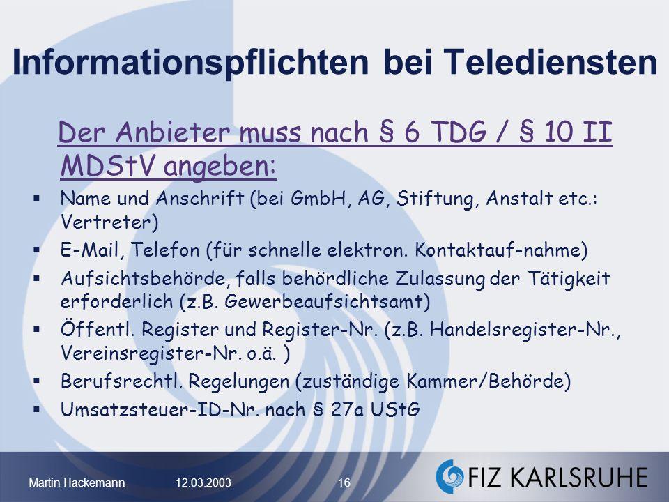 Informationspflichten bei Telediensten