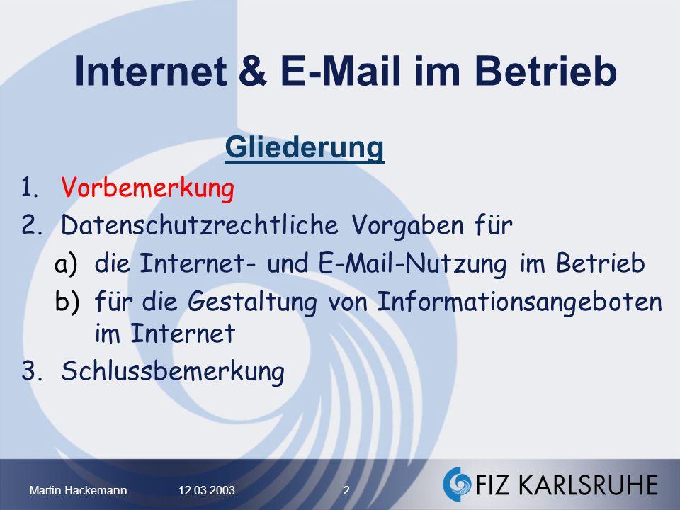 Internet & E-Mail im Betrieb