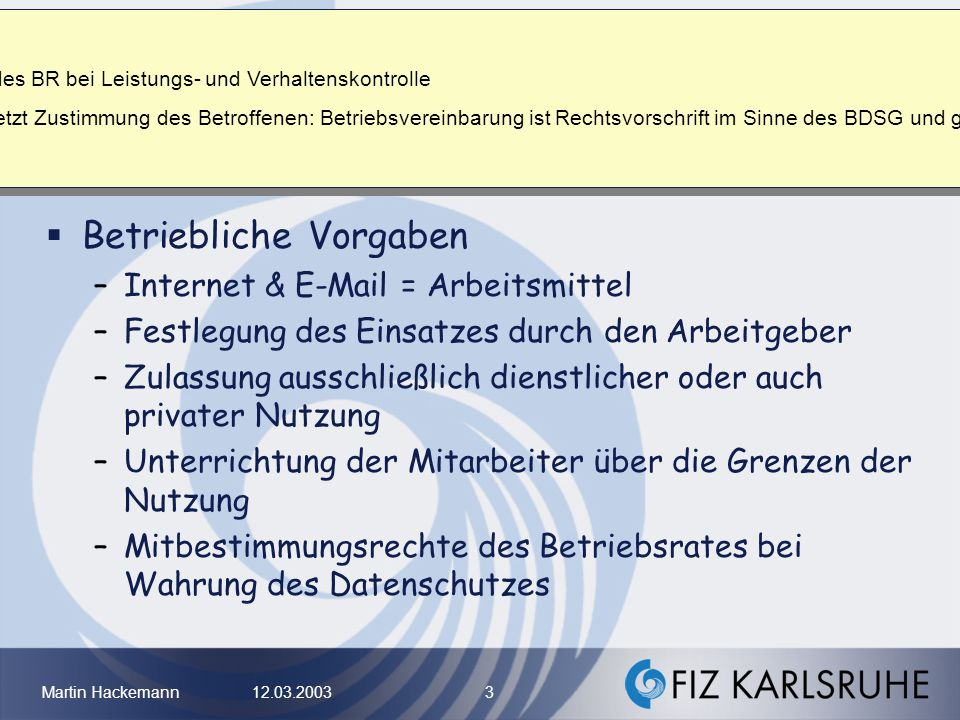 M. Hackemann: Mitbestimmungsrechte des BR bei Leistungs- und Verhaltenskontrolle.