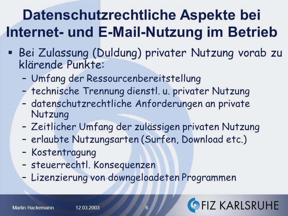 Datenschutzrechtliche Aspekte bei Internet- und E-Mail-Nutzung im Betrieb