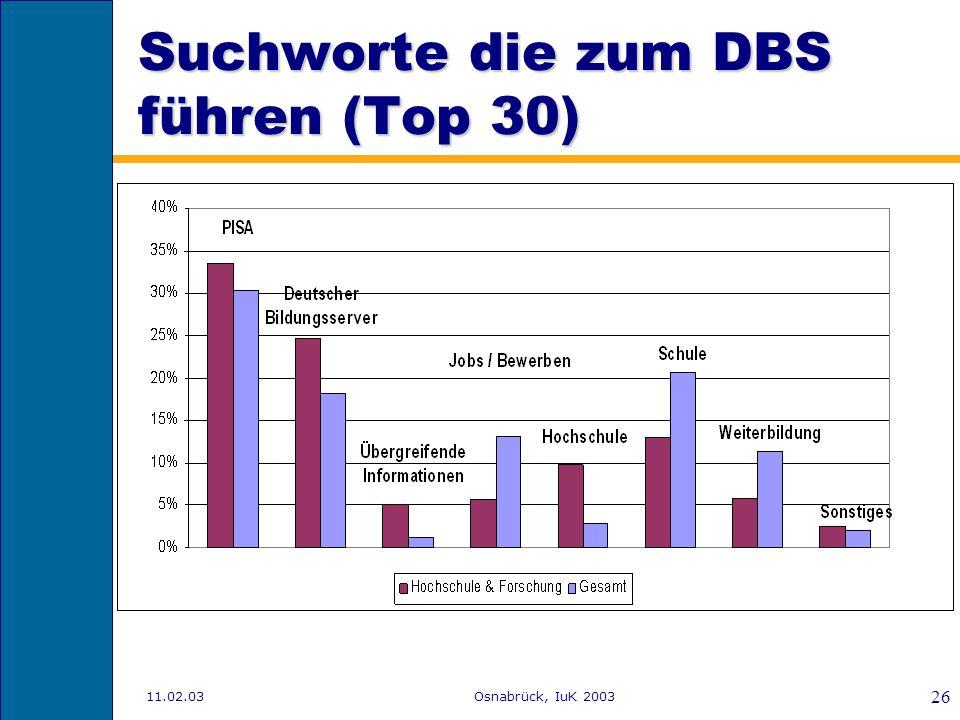 Suchworte die zum DBS führen (Top 30)