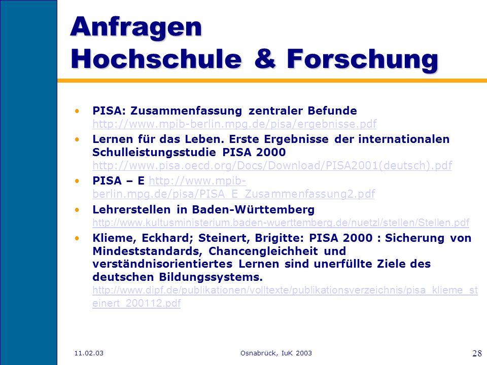 Anfragen Hochschule & Forschung