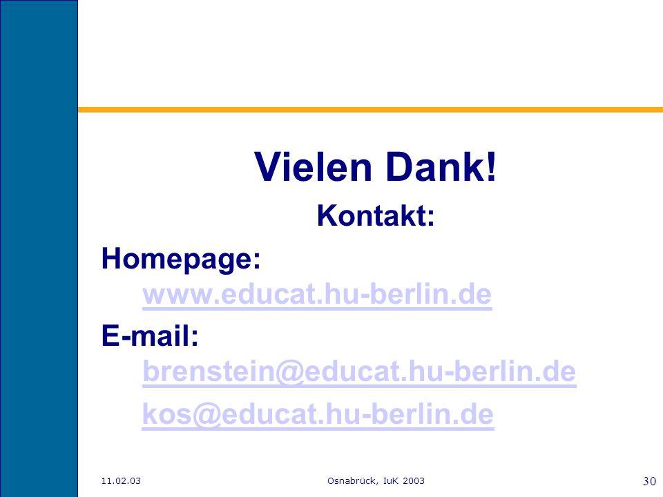 Vielen Dank! Kontakt: Homepage: www.educat.hu-berlin.de