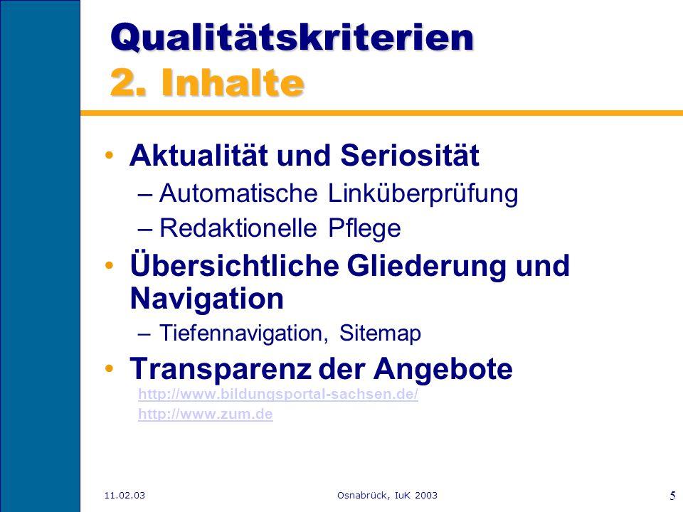 Qualitätskriterien 2. Inhalte