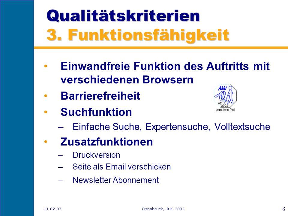 Qualitätskriterien 3. Funktionsfähigkeit
